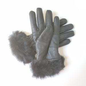 Genuine leather Thinsulate gloves with faux fur